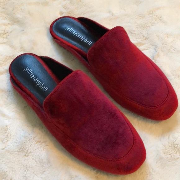 88dfbb6116e NEW Jeffrey Campbell Worthy Red Velvet Loafer Mule